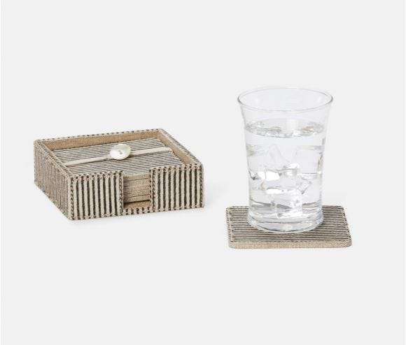 Bandar Brown Candy Striped Coasters