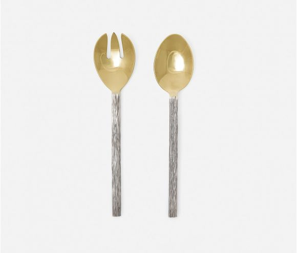 Harrison Silver Faux Bois/Polished Gold 2-Piece Serving Set