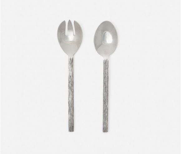 Harrison Silver Faux Bois 2-Piece Serving Set