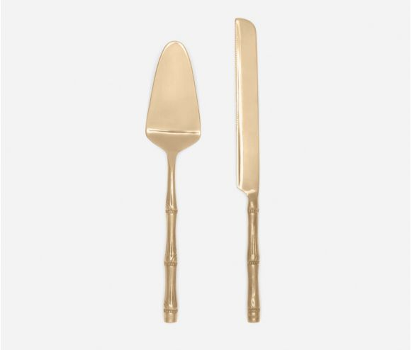 Liliana Polished Gold 2-Piece Cake Serving Set