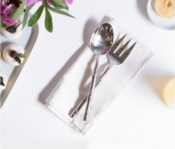 Liliana Polished Silver 2-Piece Serving Set